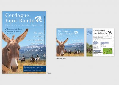 Création graphique d'une affiche et de son flyer recto/verso pour un centre équestre. Graphiste en Gironde, Bordeaux.