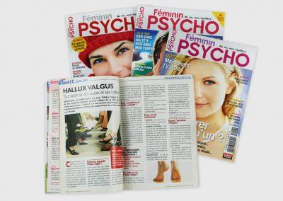 Mise en page d'articles de presse dans des magazines féminins. Maquettiste et graphiste freelance en gironde, Bordeaux.